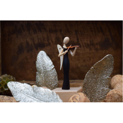Sternkopf-Engel Mini aus Makassar mit Geige, stehend