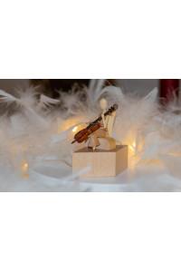+++ NEU ++++ Sternkopf-Engel Mini aus Robinie mit Cello sitzend