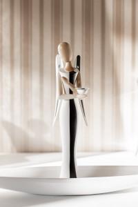 +++ NEU +++ Sternkopf-Engel White & Black, stehend, mit Kerzenhalter