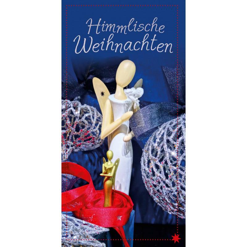 Himmlische Weihnachtsgrüße.Sternkopf Engel Karte Blau