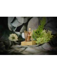 +++ NEU +++ Sternkopf-Engel Mini aus Akazienholz mit Harfe, sitzend