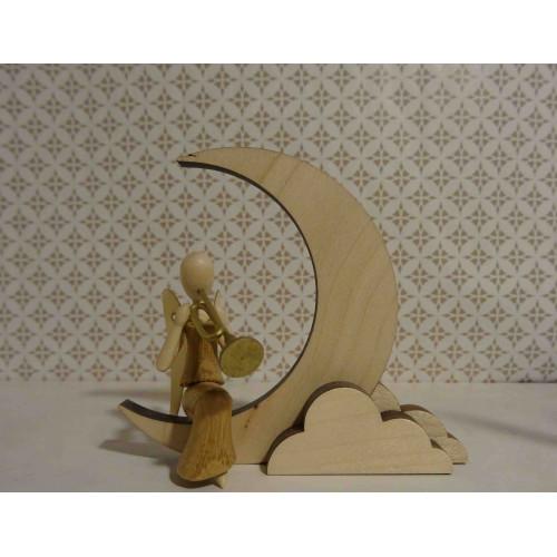 Sternkopf-Engel Mini aus Akazienholz mit Trompete sitzend auf Mond