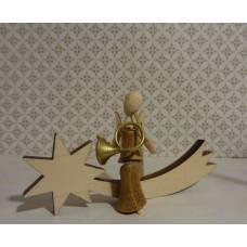 Sternkopf-Engel Mini aus Akazienholz mit Horn sitzend auf Schweif